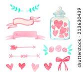 set of watercolor design... | Shutterstock .eps vector #213630439