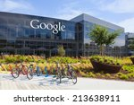 Small photo of MOUNTAIN VIEW, CA/USA - July 14, 2014: Exterior view of a Google headquarters building. Google is an American multinational corporation specializing in Internet-related services and products