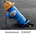Blue And Yellow Fire Hydrant...