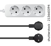 electrical triple white plastic ... | Shutterstock .eps vector #213660394