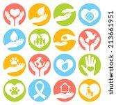 charity donation social... | Shutterstock .eps vector #213661951