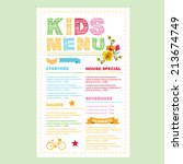 kids menu. vector template. | Shutterstock .eps vector #213674749