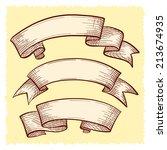 vector set of doodle scrolls... | Shutterstock .eps vector #213674935
