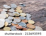 international mixed coins on... | Shutterstock . vector #213693595