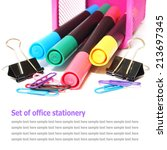 set of office stationery... | Shutterstock . vector #213697345