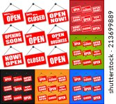 red open and closed signs  red... | Shutterstock .eps vector #213699889