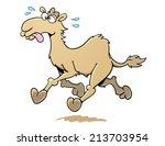cartoon camel running | Shutterstock .eps vector #213703954