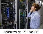 technician talking on phone... | Shutterstock . vector #213705841