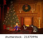 christmas eve cats by the fire | Shutterstock . vector #21370996