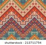 seamless knitted navajo pattern. | Shutterstock .eps vector #213711754