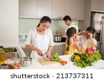 parents cooking  while their... | Shutterstock . vector #213737311