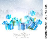 christmas gift boxes in the...   Shutterstock .eps vector #213751435