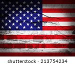 America Flag With Grunge Wall...