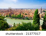 panoramic view of Verona from the high hill, Italy - stock photo