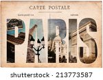 Stock photo vintage postcard letters paris 213773587