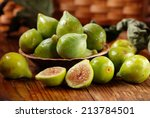 Ripe Green Figs On The Wooden...