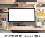 monitor on table | Shutterstock . vector #213787861