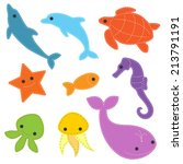 cute sea objects collection | Shutterstock .eps vector #213791191