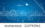 airplane comes in to land on... | Shutterstock .eps vector #213792961