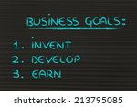 list of business goals to... | Shutterstock . vector #213795085