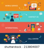 set of contact us call center... | Shutterstock . vector #213804007