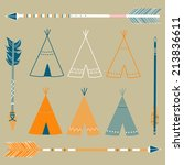teepee tents and arrows  ... | Shutterstock .eps vector #213836611