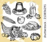 thanksgiving set | Shutterstock .eps vector #213856291