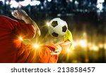 close up image of footballer... | Shutterstock . vector #213858457