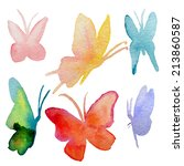 Stock vector various watercolor hand drawn butterflies collection vector eps 213860587
