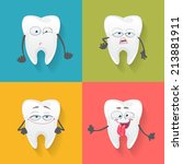 vector set of fun teeth for... | Shutterstock .eps vector #213881911