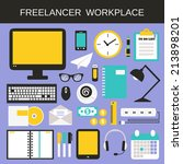 freelancer workplace icons set... | Shutterstock . vector #213898201