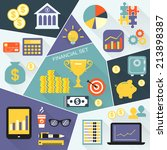 financial icons flat set of... | Shutterstock . vector #213898387