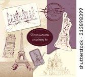 world landmark sketch... | Shutterstock . vector #213898399
