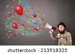young guy having fun  shouting... | Shutterstock . vector #213918325