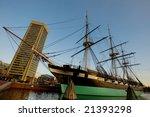 USS Constellation ship in Inner Harbor, Baltimore
