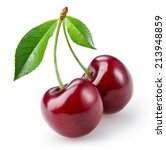 cherry with leaves isolated on... | Shutterstock . vector #213948859