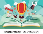imagination concept   open book ... | Shutterstock .eps vector #213950314