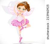 cute little fairy girl in pink... | Shutterstock .eps vector #213960925