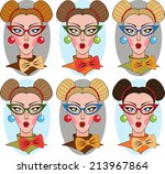 collection of portraits a... | Shutterstock .eps vector #213967864