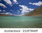 pangong tso or pangong lake ...   Shutterstock . vector #213978409