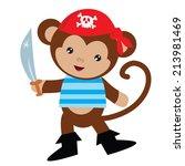 cute monkey pirate vector... | Shutterstock .eps vector #213981469