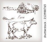 Farm Set. House  Cow  Homestea...
