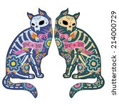 greeting card with cats ... | Shutterstock .eps vector #214000729