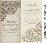 baroque wedding invitation ... | Shutterstock .eps vector #214004965
