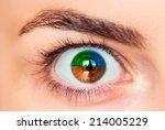 Closeup Image Of  Four Color Eye