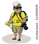 tourist with camera checked... | Shutterstock .eps vector #214009039