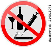 no smoking  alcohol and drugs... | Shutterstock .eps vector #214019071