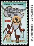 nigeria   circa 1988  stamp...   Shutterstock . vector #214025551
