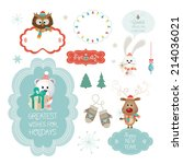 set of christmas ornaments and... | Shutterstock .eps vector #214036021