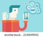 men holding mobile phone with... | Shutterstock .eps vector #214049041